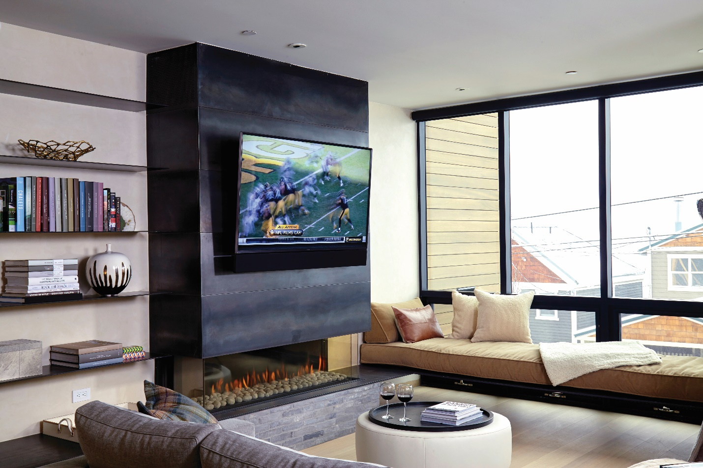 linear gas fireplace work with eclectic and effervescent design
