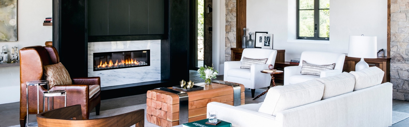 modern fireplace in a traditional cottage