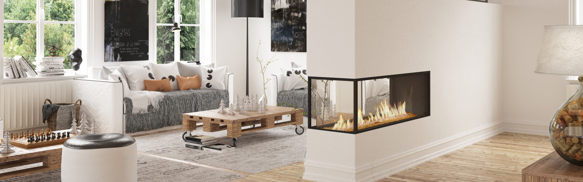 Modern Peninsula Fireplaces