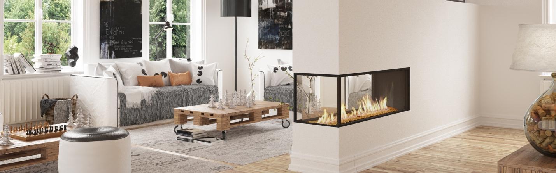 modern linear gas fireplaces
